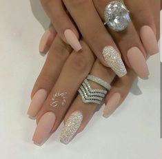 Nails, pink, wedding nails, glitter nails