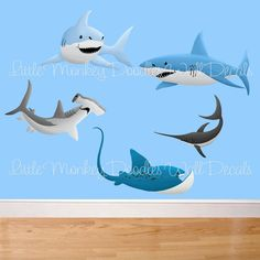 Shark Large WALL DECALS Boy's Bedroom Baby Nursery Art Decor. $75.00, via Etsy.