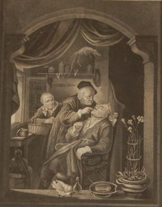 Antique print, Victorian, an engraving published in 1840 after a painting by G Douw titled The Tooth Drawer. The work was engraved by Read. This print was part of a larger set published by R A Charlton and printed by W Sears in London. Antique Prints, See Picture, Paper Size, Tooth, Drawer, Victorian, London, Printed, Antiques