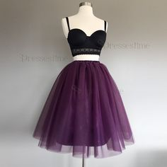 c3b4124e9a23 Dressestime.com offers high quality Two Piece Spaghetti Straps Grape Tulle  Short Homecoming Dress,