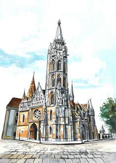 Mátyás-templom - Budapesti akvarell