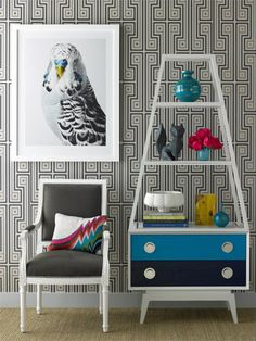 Love this whole room but the shelf is my favorite. Think I could make one with a set of drawers as a start?