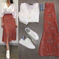 Cute and beautiful fashion style for women of all time 20 Mode Outfits, Chic Outfits, Spring Outfits, Modest Fashion, Skirt Fashion, Fashion Dresses, Mode Ulzzang, Mode Ootd, Long Skirt Outfits