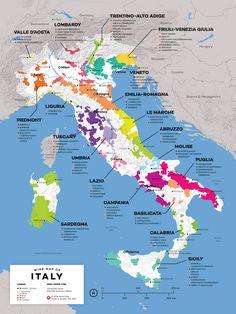Итальянские вина и винодельческие регионы на карте Италии.