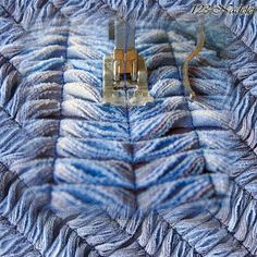 fabric bauble with chenille Textile Design, Textile Art, Rag Quilt, Quilts, Cotton Textile, Patchwork Jeans, Chenille Fabric, Fabric Manipulation, Sewing Techniques