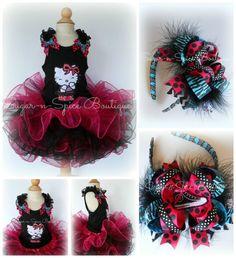 Fabulous Kitty Rockstar Black and Hot pink Tutu Set....think i can make this but cuter