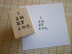 i am my art wood mounted red rubber stamp by rubbermoonstamps, $5.50