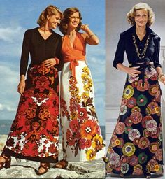 Long skirts in the 70s - very similar styles and patterns to what's in the shops at the moment. More put together, same amount of confort, just generally less knees are a good thing.