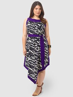 Abstract Print Maxi Dress - Given the most recent reviews I was expecting the worse, but was pleasantly surprised. It is a lovely shade of purple, a fun print, a fun shape and i received compliments when wearing it. Unfortunately it is rather thin and unlined, which I did not like.