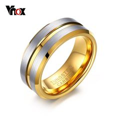 Vnox Tungsten Rings for Men Jewelry 8mm Punk Men's Ring Gift Gold-color