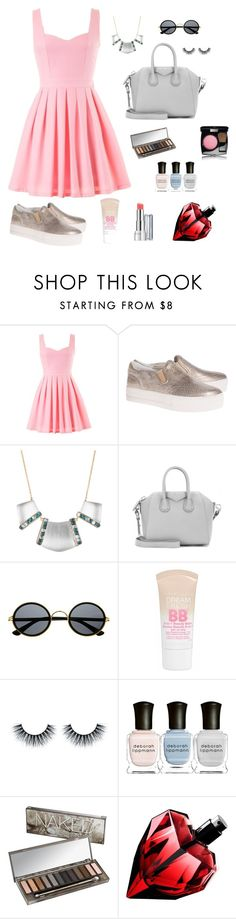 """Little light pink dress"" by jasminevn ❤ liked on Polyvore featuring moda, Ash, Alexis Bittar, Givenchy, Retrò, Maybelline, Revlon, Deborah Lippmann, Urban Decay e Chanel"