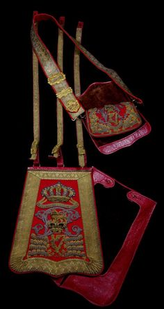 "holdhard: "" A Victorian (King's Royal Irish) Hussars Officer's Full Dress Sabretache, Shoulder Belt and Pouch, complete with red morocco foul weather covers, "" Vintage Military Uniforms, British Uniforms, British Army, Military History, Military Fashion, Saddle Bags, Celtic, Irish, Pouch"