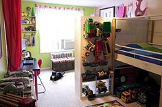 Shared Kids space - this is neat and allows for separate space for each kid - and this is a boy/girl shared space!