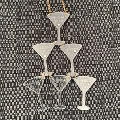 Laser Cut Jewelry, Tatty Devine, Shrink Plastic, Martini, Cocktail, Sparkle, Bling, Jewellery, Stone