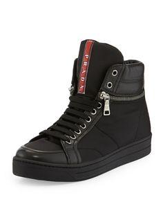 Prada Linea Rossa Nylon Zip-Side Sneakers - Siyah #prada #pradaturkiye #pradafiyat #orjinalprada