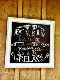 Patio chalkboard