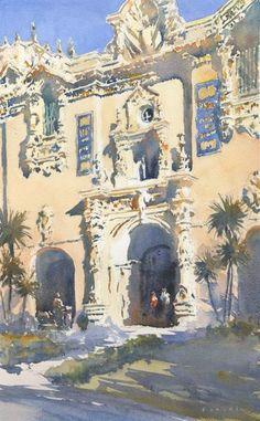 "Michael Reardon Watercolors House of Hospitality, Balboa Park 15"" x 9"" 24 February 2016"