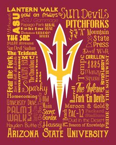 "Original artwork using words to describe ""ARIZONA STATE UNIVERSITY"" -- Show off your Sun Devil's pride in your home/dorm room/office with this print that details the many words for all things Maroon & Gold like Sparky, Tempe, Fear the Fork, Give 'em Hell and more. Come visit the Lexicon Delight Etsy store! School Week, Arizona State University, Mountain States, Smarty Pants, Arizona Cardinals, Words To Describe, Colleges, College Life, Canvases"