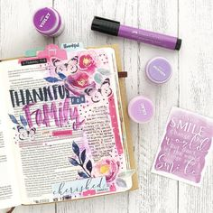 "Mixed Media Bible Journaling: ""Day 13 of Gratitude Documented and I had to pull out all the purple for my Mom... and I'm gonna…"""