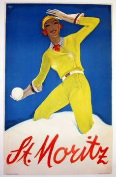 St Moritz, 1932 - original vintage poster by Alois Carigiet listed on AntikBar.co.uk