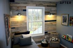 DIY Pallet wall. The way they executed this, with pieces in the accent colour for the room, is GENIUS! Love the texture and interest this adds to a tiny bedroom. I want to do this SO badly, somewhere in my house!