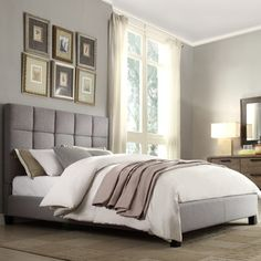 Sarajevo Grey Column Queen Bed with Wood Frame, Linen Fabric - $431.99