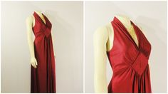 CIJ SALE Vintage Dress & Bolero Jacket 60s 70s Mad Men Cranberry Red Satin Maxi Dress and Shrug V Neck Back Zip Size Small to Medium