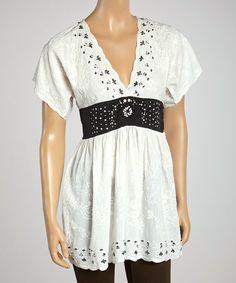 Look at this #zulilyfind! Black & White Embroidered Sparkle V-Neck Tunic by Shabri Fashions #zulilyfinds