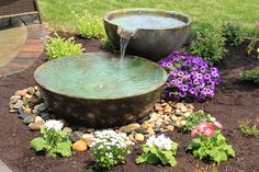 Aquascape Spillway Bowls can also easily be linked together creating a unique modern standalone water feature.