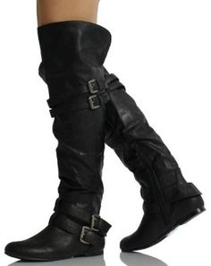 Amazon.com: Black Leatherette Double Buckle Cuff Over the Knee High Heel Boots Vickie 16 HI: Shoes