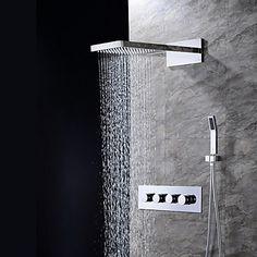 Modern Muurbevestigd Waterval Regendouche Inclusief handdouche with Keramische ventiel Vier handgrepen drie gaten for Chroom