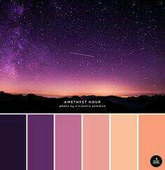 The real contrasting tones here are the black and peach. They really make the palette pop. A sandstone-inspired color palette Colour Pallette, Color Palate, Colour Schemes, Color Combos, Purple Color Palettes, Sunset Color Palette, Sunrise Colors, Purple Palette, Purple Paint Colors