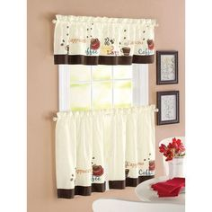COFFEE ESPRESSO LATTE CAFE Ivory Brown KITCHEN CURTAINS TIERS VALANCE SET