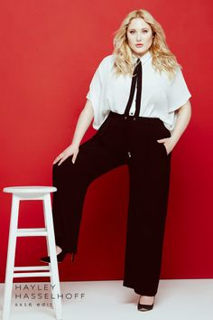 4fe243fe743 2016 Spring Must Haves  TCFStyle Flared pants are back! Love this look for  curvy. Black Wide Leg TrousersCurvy OutfitsPlus Size ...