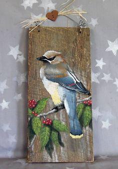 Cedro Waxwing songbird barnwood auténtico rústico pintado