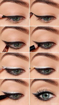 Black Eyeshadow Tutorial for Blue Eyes | 12 Colorful Eyeshadow Tutorials For Blue Eyes by makeup Tutorials at http://makeuptutorials.com/12-colorful-eyeshadow-tutorials-blue-eyes/