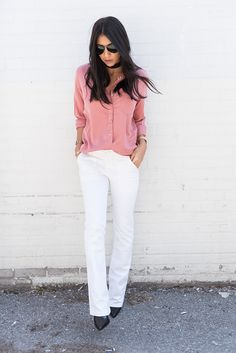 Blush silk top with white jeans and black pointed heels— Bloglovin'—the Edit