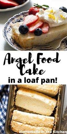Angel Food Cake In A Loaf Pan is a delicate and fluffy white cake made from whipped egg whites and without cream of tartar. Serve it with fresh strawberries, blueberries, and whipped cream. Angel Food Cake Desserts, Angle Food Cake Recipes, Angel Food Cake Pan, Easy Desserts, Delicious Desserts, Yummy Food, Easy Sweets, Angel Cake, French Desserts