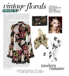 """Vintage 🌷 Florals"" by marianaloalv on Polyvore featuring moda, Nicholas, Topshop, Manolo Blahnik, Charlotte Tilbury y vintage"