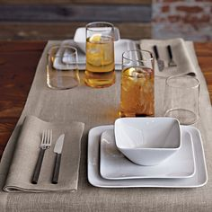 duo natural linen placemat for two in table linens | CB2