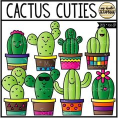 Cactus Cuties (Clip Art for Personal &. by My Doodle Scrapbook Clipart Classroom Design, Classroom Themes, Painted Signs, Wooden Signs, Cactus Decor, Cactus Cactus, Ball Decorations, Flower Ball, School Themes