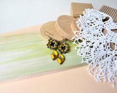 Yellow black flower earrings Picasso beads by MartaJewelry on Etsy