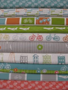 Perfect for the girls' room! Jay-Cyn Designs for Birch Fabrics, Commute, Organic, Entire Collection in FAT QUARTERS 10 Total Fat Quarters, Nursery Fabric, Baby Fabric, Gauze Fabric, Fabric Art, Retro Fabric, Sewing Projects, Sewing Ideas, Colors