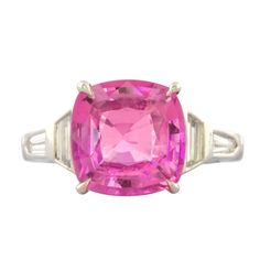 Rare Hot Pink Sapphire Ring | From a unique collection of vintage solitaire rings at http://www.1stdibs.com/jewelry/rings/solitaire-rings/