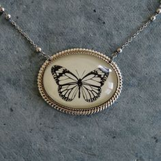 Butterfly Necklace pendant on chain by tinatarnoff on Etsy, $50.00