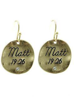 MATTHEW 19:26 disk drop earrings