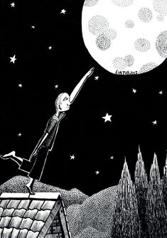 I'll bring you the moon black and white ink illustration by liatib, $16.00