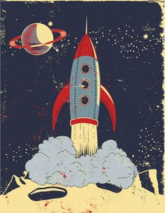 Retro Rocket Launch • Mary Burr. Yup, the Buck Rogers type rocket of my youth. I wonder if it wobbles.