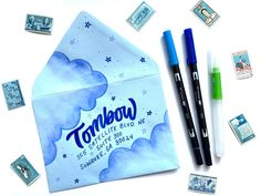 Adding the perfect touch to your outgoing happy mail is easy with Tombow! Make watercolor clouds in this simple tutorial by Ali LePere. Diy Cards And Envelopes, Blue Envelopes, Addressing Envelopes, Paper Envelopes, Tombow Pens, Tombow Usa, Tombow Dual Brush Pen, Diy Projects Hobbies, Watercolor Clouds