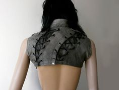 Dream Warriors worn out grey leather crop vest / overbust bolero. Lace ups, straps. Post apocalyptic punk rock heavy metal fashion